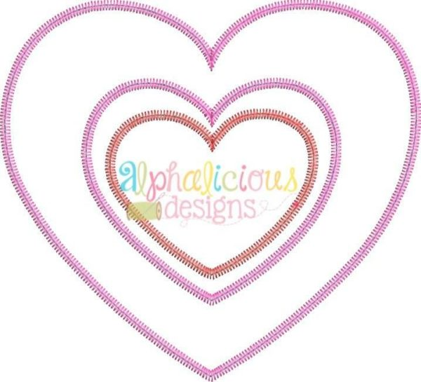 Valentine's Double Heart Applique Designs - Zig Zag