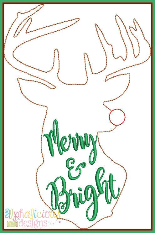 Merry and Bright Triple Bean Applique Design