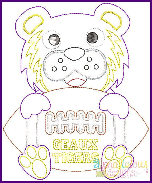 Tiger Football Mascot Vintage Embroidery Design