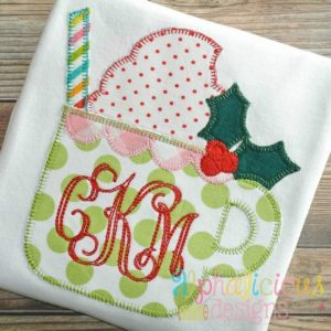 Holiday Latte Cup Applique- Blanket