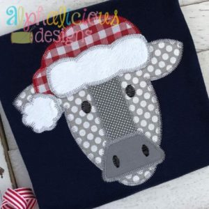 Santa Cow Applique- Zig Zag