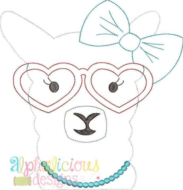 Llama Lady Applique Design - Triple Bean