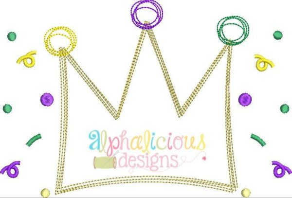 Mardi Gras Crown Scribble Applique Design