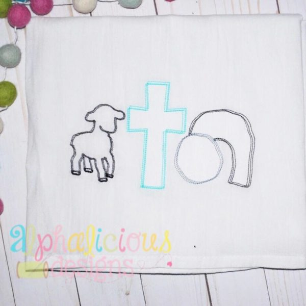 Lamb, Cross, Tomb Three In a Row-Vintage Scribble