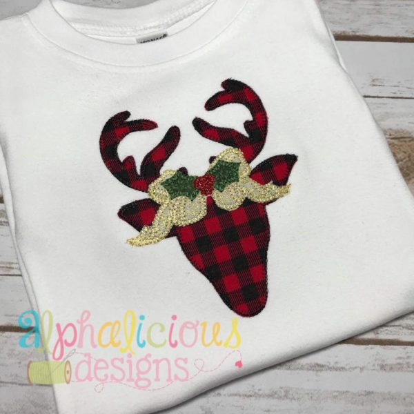 Simple Deer Head with Bow Applique- Blanket