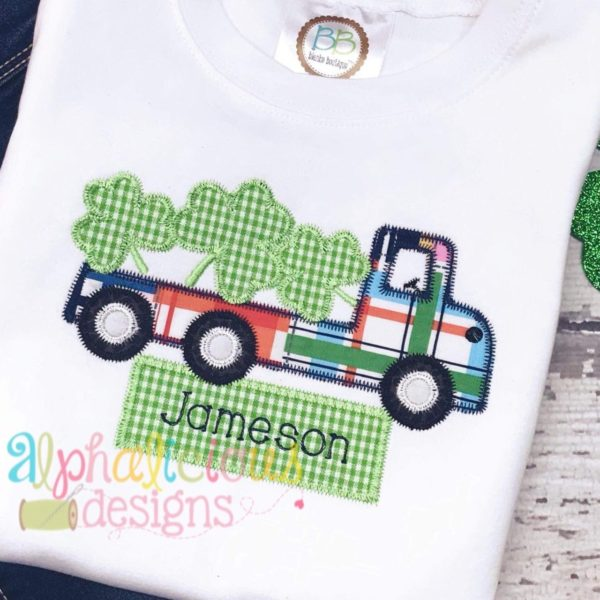 Flatbed Truck with Shamrocks Applique - Zig Zag