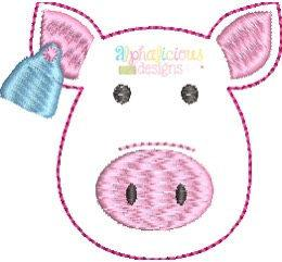 Farm Pig with Ear Tag Feltie - Triple Bean