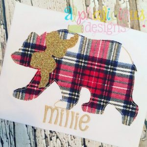 Black Bear with Bow Applique-Triple Bean