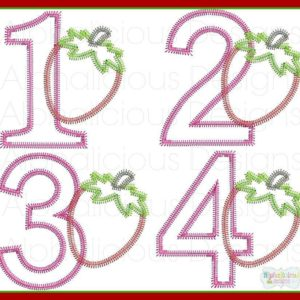 Strawberry Number Set Applique