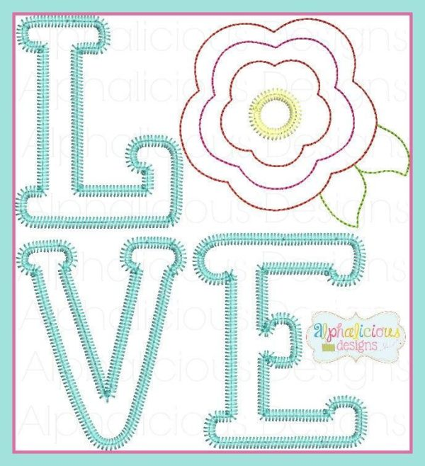 LOVE Applique Design with Vintage Flower