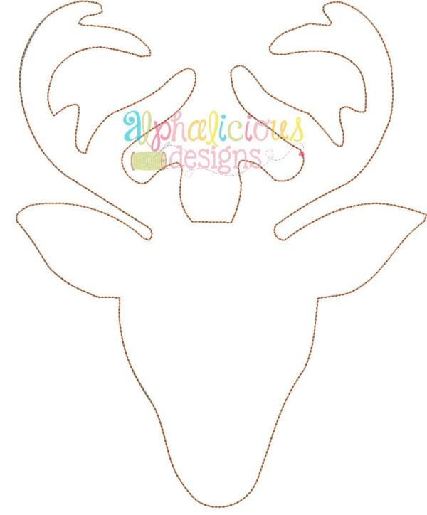 Simple Deer Head Applique-Triple Bean