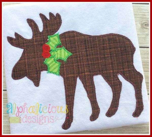 Holly Jolly Moose-Blanket Applique Design