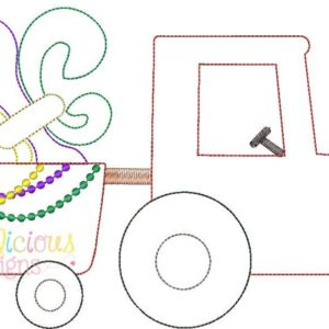 Mardi Gras Tractor Applique Design- Triple Bean