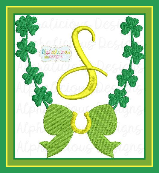 Saint Patty's Clover and Horse Shoe Monogram Frame