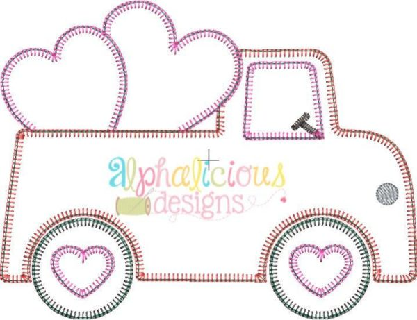 Valentine Truck Applique Design- Blanket