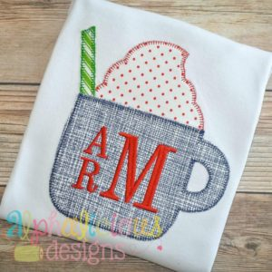 Little Latte Cup Applique- Blanket