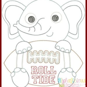 Elephant Football Mascot Vintage Embroidery Design