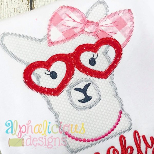 Llama Lady Applique Design - Zig Zag