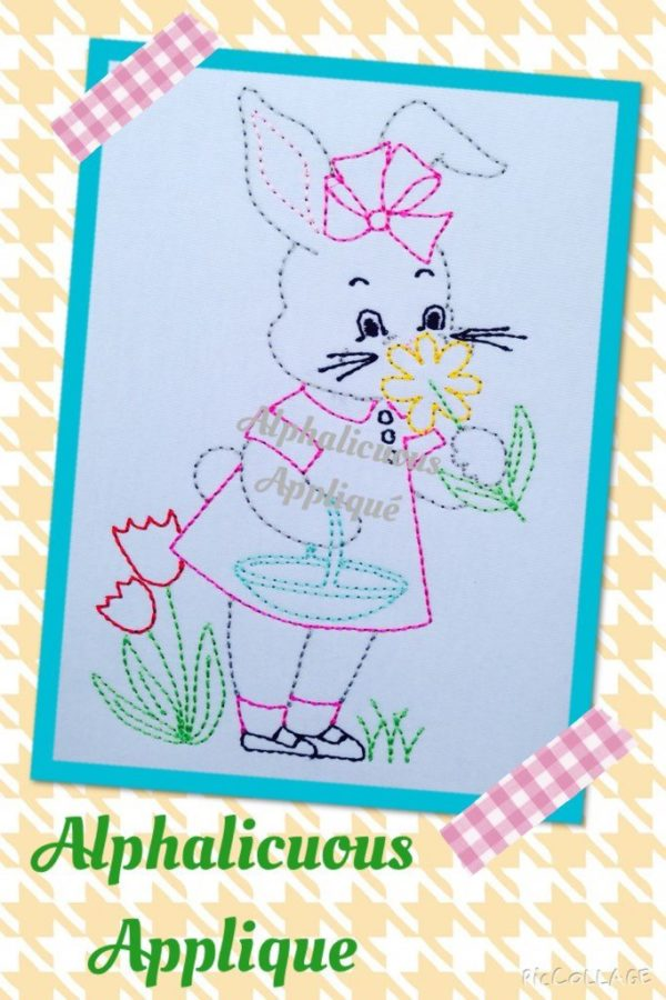 Vintage Triple Stitch Easter Bunny With Flowers