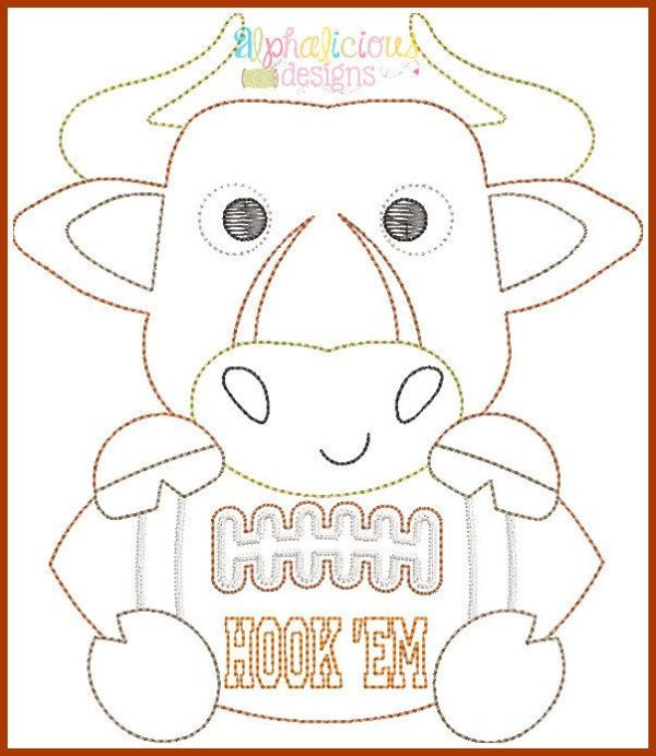 Longhorn Football Mascot Vintage Embroidery Design