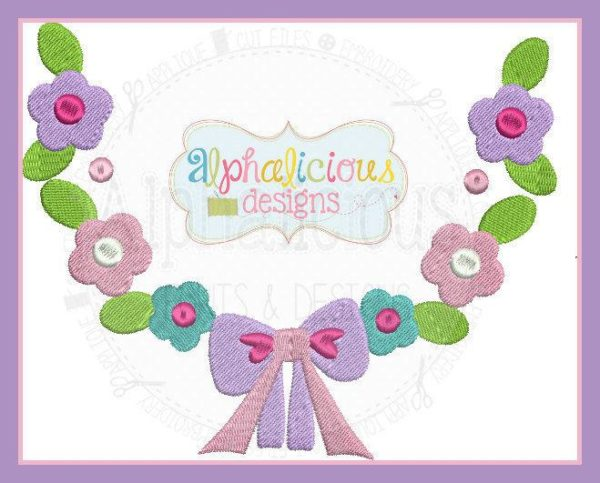 Spring Floral Monogram Wreath With Bow