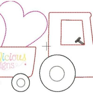 Valentine Tractor Applique Design- Triple Bean