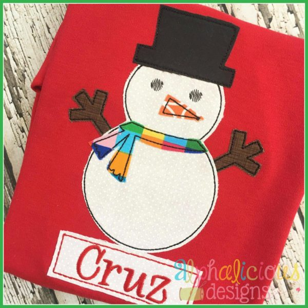 Snow Man Applique Design