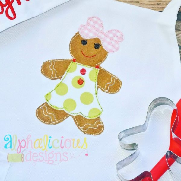 Mrs. Gingerbread Applique-Triple Bean
