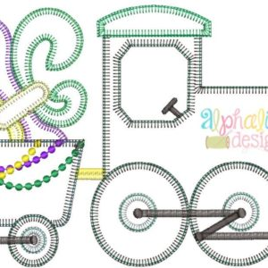 Mardi Gras Train Applique Design- Blanket