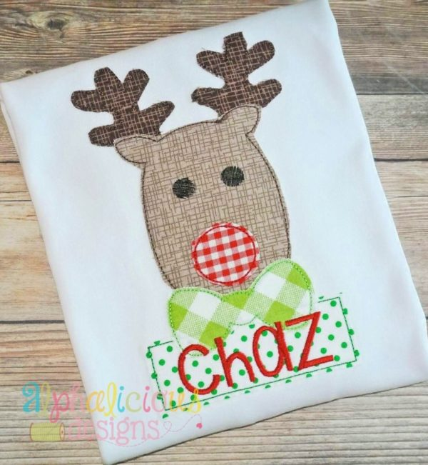 Mr. Red Nosed Reindeer- Triple Bean Applique