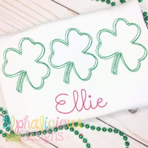 Shamrock Three In A Row-Vintage Scribble Embroidery
