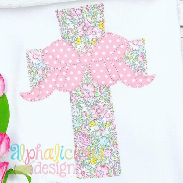 Cross with Bow Applique- Triple Bean