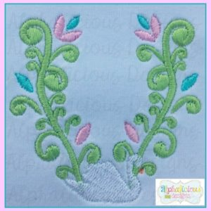 Swirly Swan Monogram Frame MINI