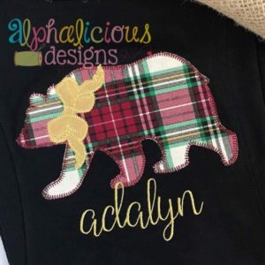Black Bear with Bow Applique-Blanket