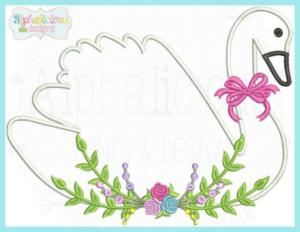 Floral Swan Applique