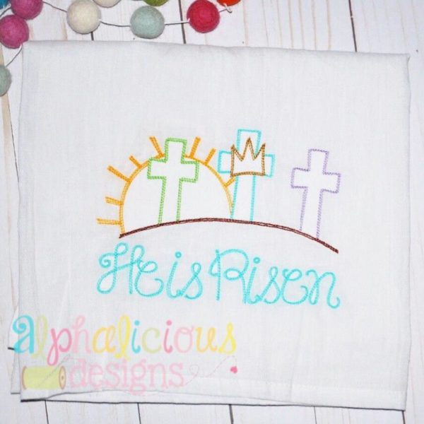 Three Crosses On The Hill-Vintage Scribble