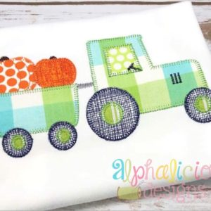 Pumpkin Patch Tractor- Blanket -Applique Design