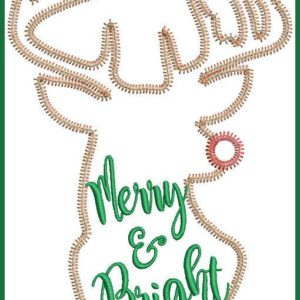 Merry and Bright ZigZag Applique Design