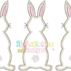 Cottontail Three In A Row Applique - Blanket