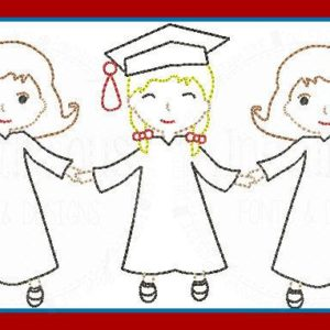Vintage Graduate Girls Paper Dolls Embroidery