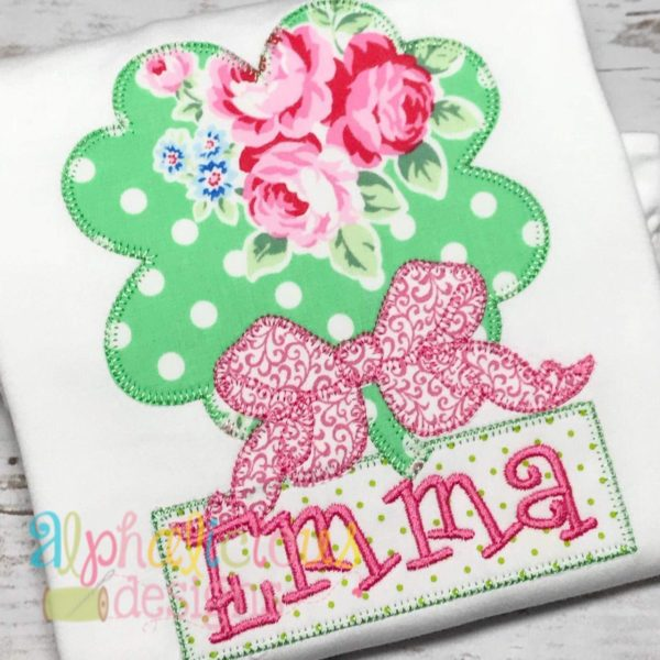 Shamrock with Bow Applique- Blanket