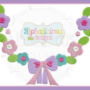 Spring Floral Monogram Wreath with Bow MINI