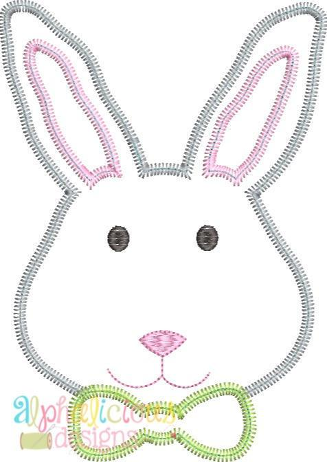 Mr.Bunny with Bow Tie Applique -ZigZag