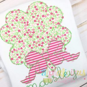 Shamrock with Bow Applique- Triple Bean