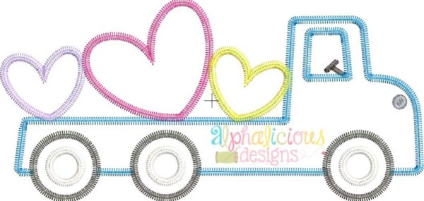 Flatbed Truck with Hearts Applique - Zig Zag