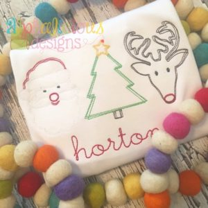 Christmas Cheer Vintage Scribble Three In A Row Embroidery
