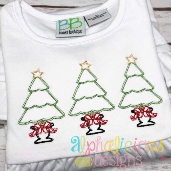 Fancy Scribble Holiday Tree- Three In A Row- Vintage Scribble