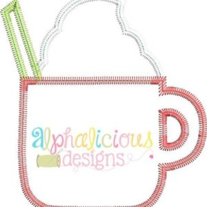 Little Latte Cup Applique- Zig Zag