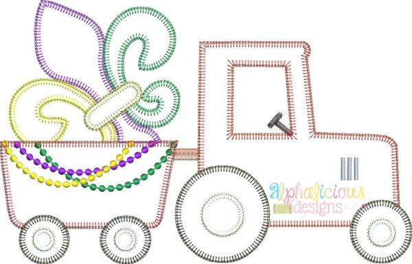 Mardi Gras Tractor Applique Design- Blanket