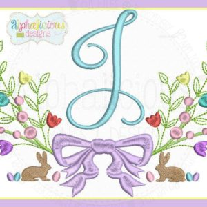Classic Heirloom Vintage Bunny Monogram Laurel MINI